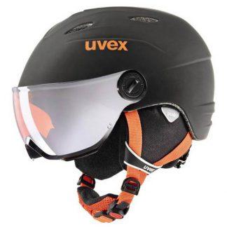 Kask z przyłbicą szybą Uvex Junior Visor Pro Black Orange Mat 2018  tylko w Narty Sklep Online