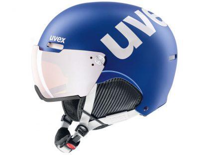 Kask z przyłbicą szybą Uvex Hlmt 500 Visor Cobalt white mat / Litemirror Silver 2019  tylko w Narty Sklep Online